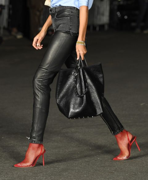 Clothing, Leg, Street fashion, Jeans, High heels, Footwear, Fashion, Leather, Human leg, Ankle,