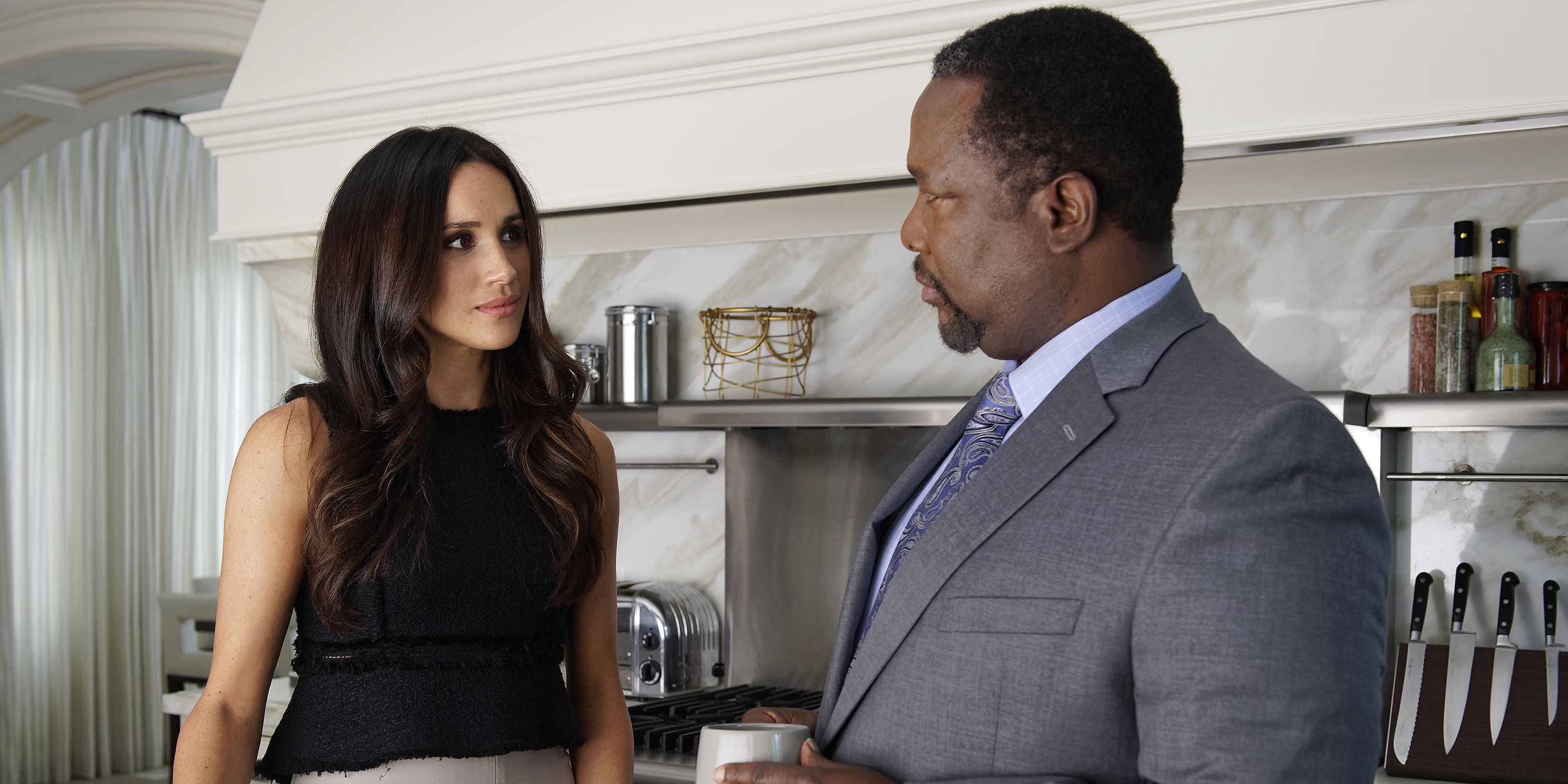 Meghan Markle and Wendell Pierce on Suits