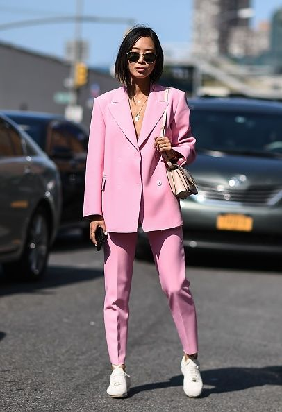 Pink, Clothing, Street fashion, Fashion, Snapshot, Footwear, Outerwear, Blazer, Eyewear, Sunglasses,