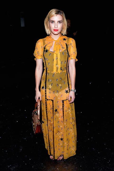 Fashion model, Clothing, Yellow, Fashion, Dress, Orange, Fashion design, Fashion show, Blond, Costume design,