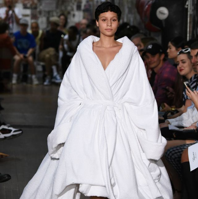 new york, ny   september 12  a model walks the runway at the vaquera fashion show during new york fashion week on september 12, 2017 in new york city  photo by albert ursogetty images