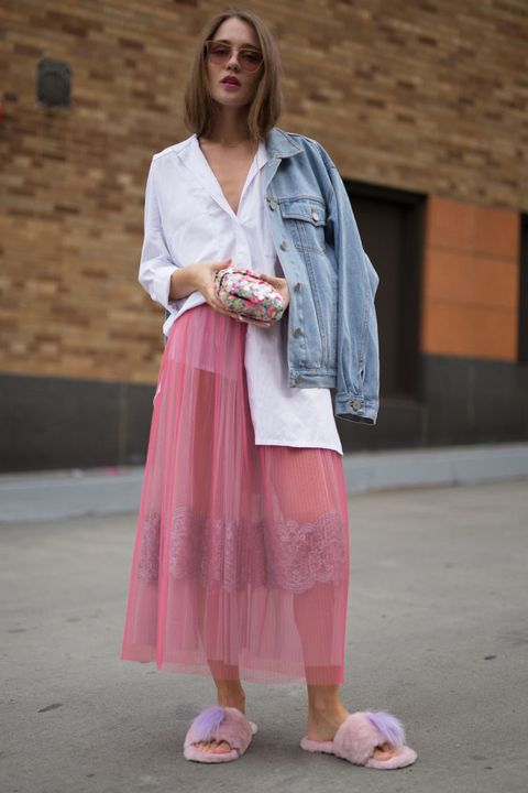 Clothing, Pink, Street fashion, Fashion, Snapshot, Outerwear, Footwear, Shoe, Jeans, Denim,