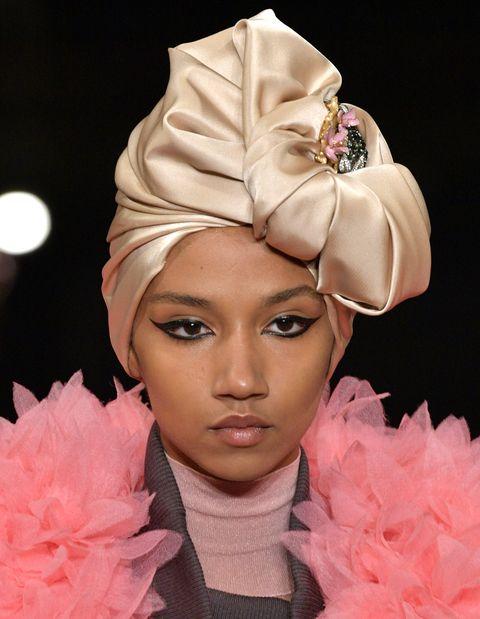 Pink, Fashion, Beauty, Hairstyle, Haute couture, Fashion model, Fashion show, Fashion accessory, Headpiece, Headgear,