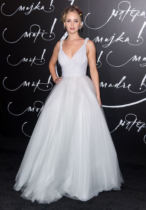 Jennifer Lawrence wore a wedding dress on the red carpet