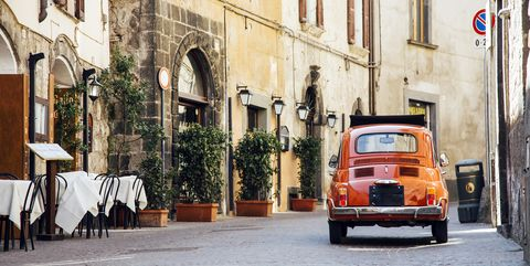 Land vehicle, Vehicle, Car, Mode of transport, Classic, Town, Renault 4, City car, Yellow, Street,