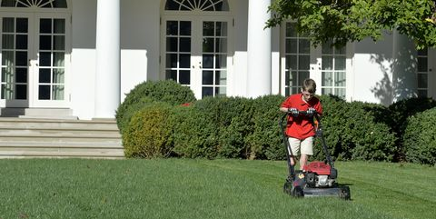 Frank Giaccio mowing the White House lawn