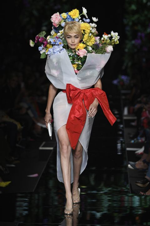 Gigi Hadid Dressed Like a Giant Bouquet at the Moschino Spring ...