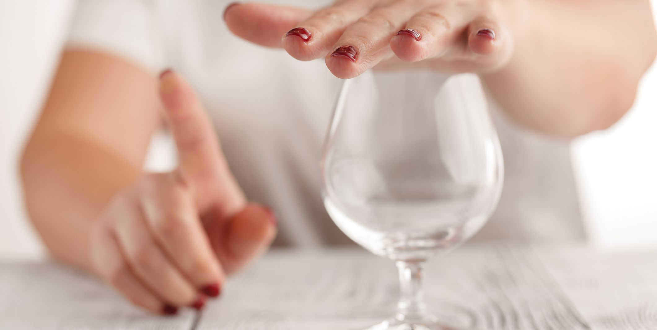 woman refuses to drink a alcohol