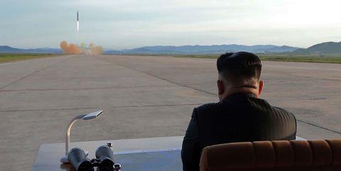 Kim Jong-un observing September 2017 missile launch.