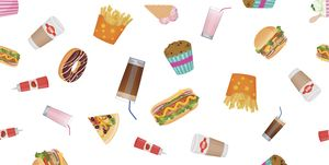Vector flat design fast food seamless pattern wallpaper.