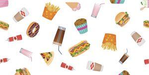 Vector flat design fast food seamless pattern wallpaper.