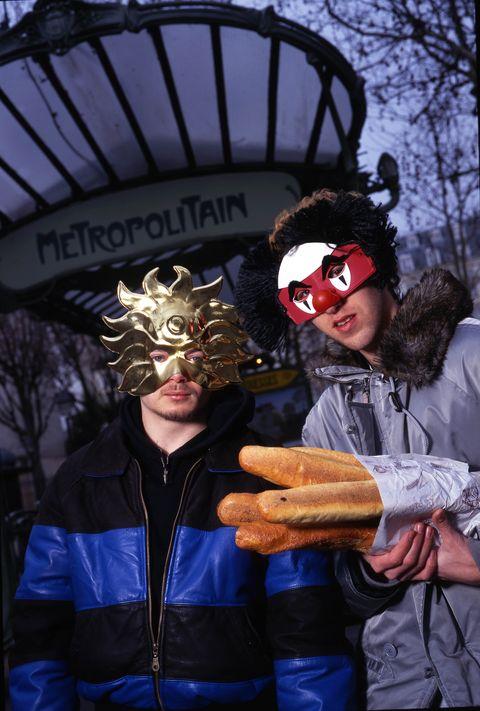 france   january 01  photo of daft punk  photo by mick hutsonredferns