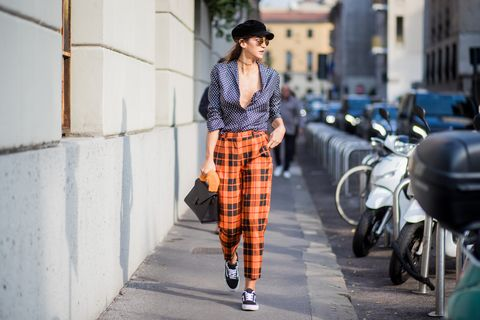 Plaid, Tartan, Street fashion, Pattern, Clothing, Fashion, Orange, Snapshot, Design, Textile,