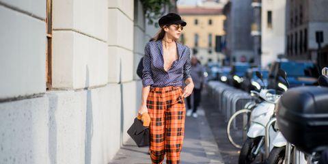 Plaid, Tartan, Street fashion, Clothing, Pattern, Fashion, Orange, Photograph, Design, Snapshot,
