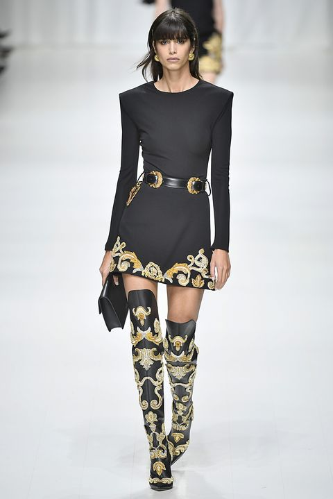 Fashion model, Fashion, Fashion show, Runway, Clothing, Shoulder, Thigh, Joint, Leg, Footwear,