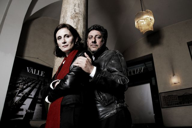 rome   march 09  italian writer margaret mazzantini  and her husband actor sergio castellitto poses for a portrait sessionat the valle theatre on march 9 2009, in rome italy  photo by franco origliagetty images