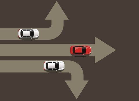 Car moving in different directions. Leader concept. Way to success.