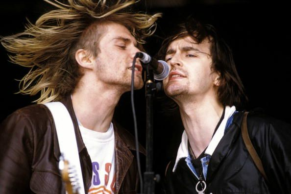 Kurt Cobain with Eugene Kelly performing  at the U.K.'s Reading Festival in 1992.