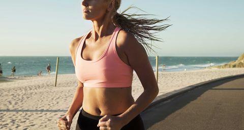 mujer, running, playa