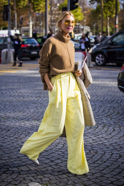 paris, france   october 03  roberta benteler wearing brown turtleneck and wide leg pants is seen in the streets of paris, after the chanel show during paris fashion week womenswear ss18 on october 3, 2017 in paris, france  photo by claudio laveniagetty images