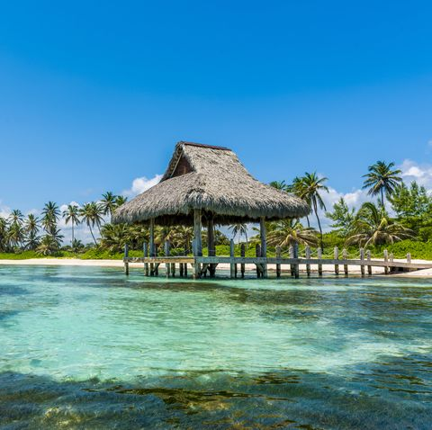 Thatched beach hut in Punta Cana, Dominican Republic.