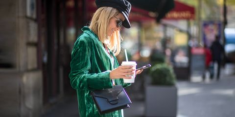 Green, Street fashion, Fashion, Snapshot, Blond, Jacket, Street, Headgear, Outerwear, Technology,