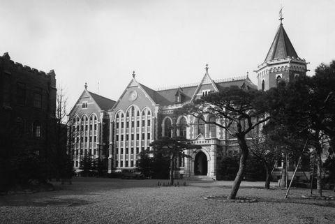 Black-and-white, Town, Landmark, Building, Architecture, Monochrome photography, Monochrome, Tree, Church, House,