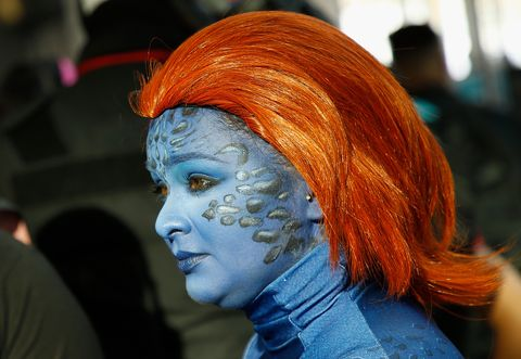 Face, Hair, Blue, Orange, Head, Red hair, Costume, Wig, Fictional character, Hair coloring,