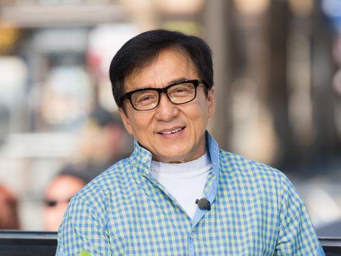 universal city, ca   october 05 jackie chan visits extra at universal studios hollywood on october 5, 2017 in universal city, california photo by noel vasquezgetty images