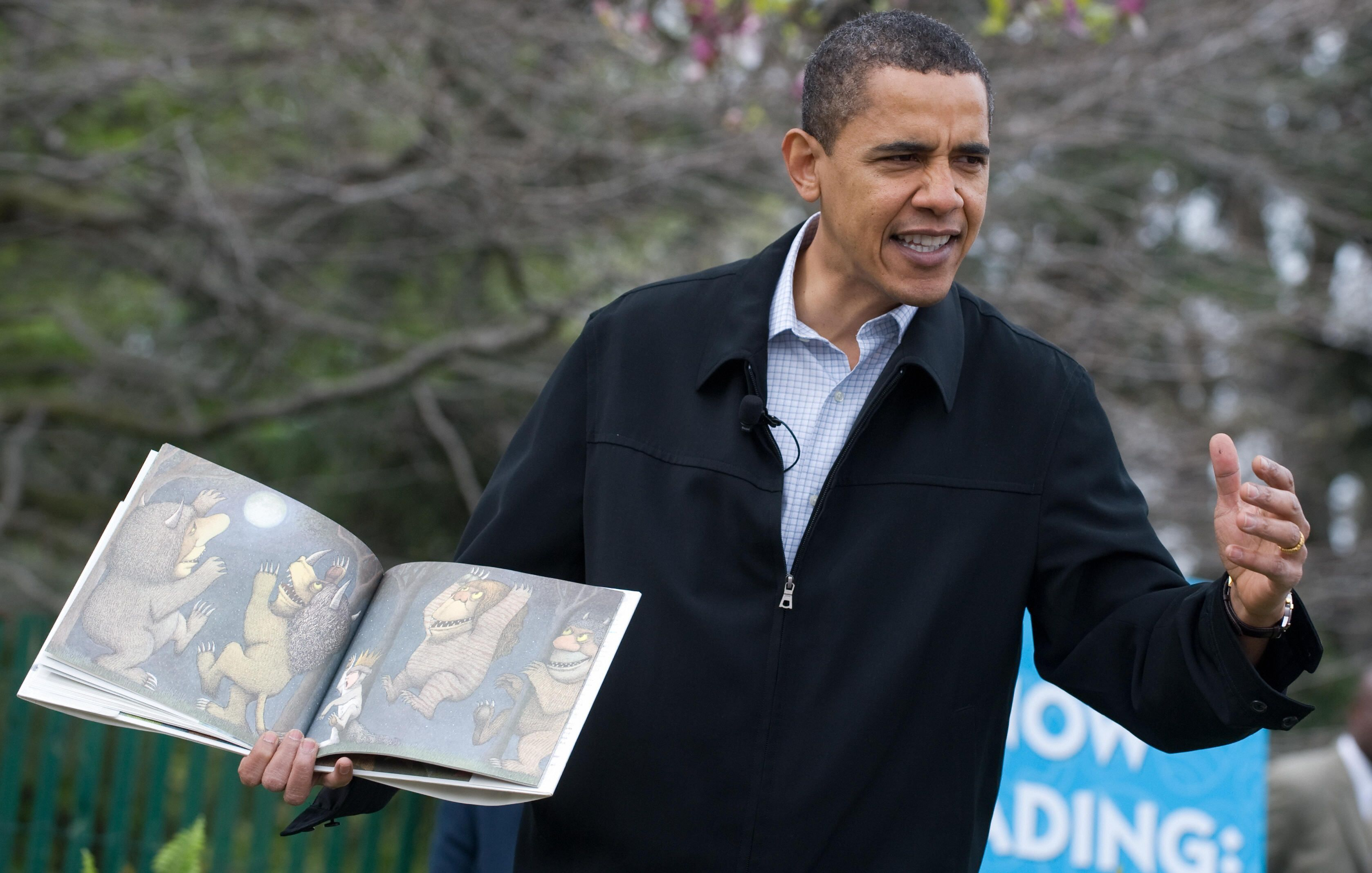 President Barack Obama reads Where the Wild Thing Are to young children at the annual White House Easter Egg Roll on April 13, 2009.