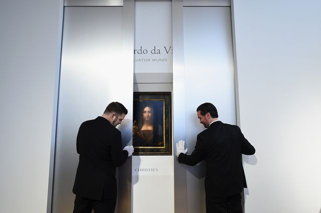 new york, ny   october 10  christies unveils leonardo da vincis salvator mundi pictured with andy warhols sixty last suppers at christies new york on october 10, 2017 in new york city  photo by ilya s savenokgetty images for christies auction house