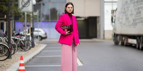 Clothing, Pink, Street fashion, Photograph, Fashion, Snapshot, Outerwear, Costume, Shoulder, Magenta,