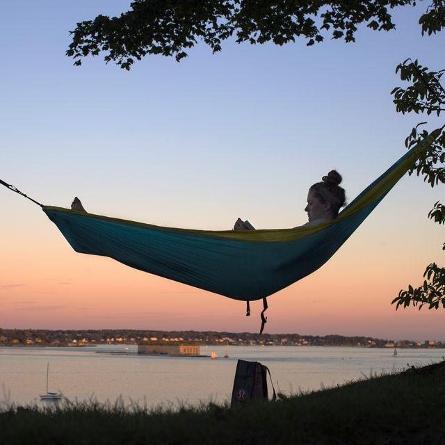 hammock, morning, tree, sky, fun, leisure,