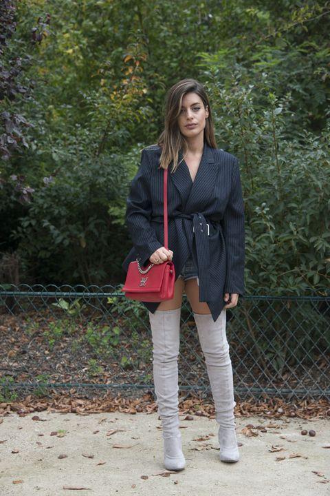 Clothing, Footwear, Street fashion, Jeans, Outerwear, Fashion, Snapshot, Blazer, Brown, Shoe,