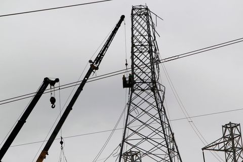 Electricity, Overhead power line, Electrical supply, Tower, Transmission tower, Wire, Public utility, Line, Sky, Electrical wiring,