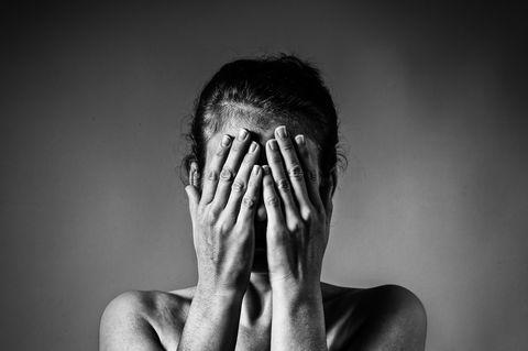 Concept of fear, shame, domestic violence.