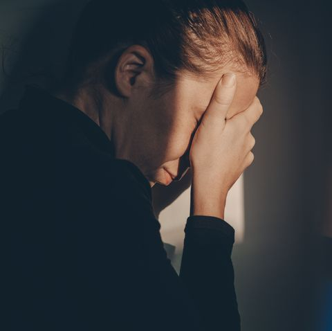 a woman alone and depressed