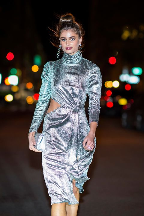 Taylor Hill silver ruched dress