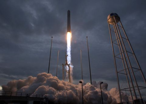 The Orbital ATK Antares rocket, with the Cygnus spacecraft onboard, launches from Pad-0A on November 12, 2017 at NASA's Wallops Flight Facility in Wallops Island, Virginia.