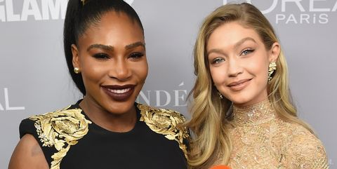 brooklyn, ny   november 13  serena williams and gigi hadid pose backstage at glamours 2017 women of the year awards at kings theatre on november 13, 2017 in brooklyn, new york  photo by dimitrios kambourisgetty images for glamour