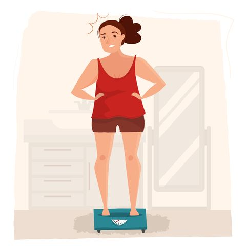 fat woman is standing on the scales flat style cartoon illustration