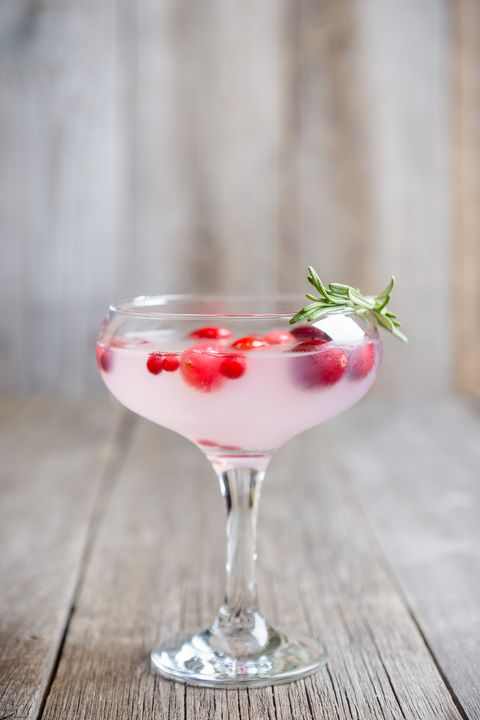 Tasty christmas cocktail with cranberry and foxberry