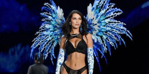 Lingerie, Bikini, Feather, Fashion show, Fashion, Event, Model, Performance, Electric blue, Brassiere,