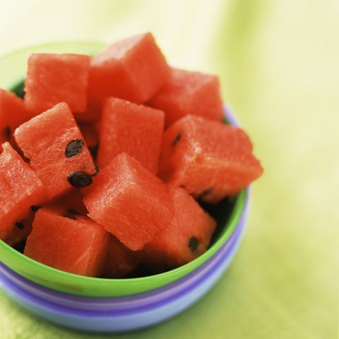 Cubed watermelon in bowl