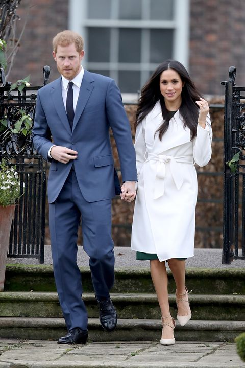 Meghan Markle S White Coat Engagement Line The Label Coat