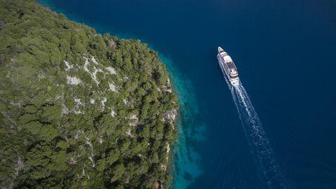 aerial of cruise ship ms romantic star reisebüro mittelthurgau and coastline, near mljet, dubrovnik neretva, croatia