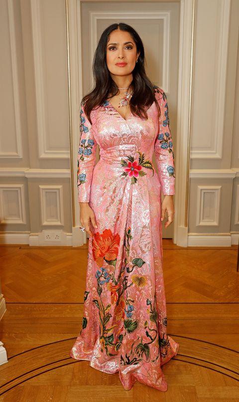 Clothing, Pink, Dress, Peach, Fashion model, Fashion, Formal wear, Gown, Fashion design, Textile,