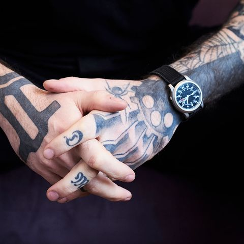 Hand, Arm, Finger, Wrist, Cool, Nail, Tattoo, Design, Muscle, Fashion accessory,