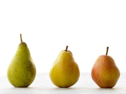 Three Pears Against White Background