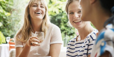 Women sitting on sofa, laughing talking and drinking wine.